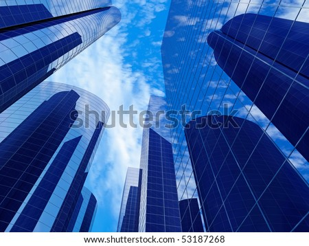 Business building with reflection on the blue sky background #53187268