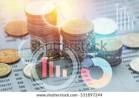 pile coin money with account book finance and banking concept for background.concept in grow and walk step by step for success in business Royalty-Free Stock Photo #531897244