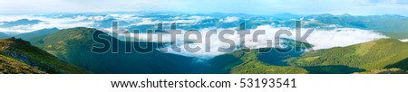 Summer cloudy mountain panorama view (Ukraine, Carpathian Mountains). Five shots stitch image. #53193541