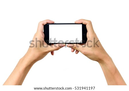 Man hand holding horizontal the black smartphone with blank screen, isolated on white background