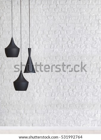 Brick wall empty interior decoration modern lamp and wooden floor concept, decorative and white background for home office #531992764