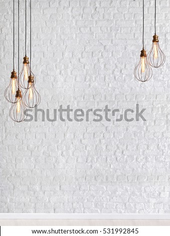 Brick wall empty interior decoration modern lamp and wooden floor concept, decorative and white background for home office #531992845