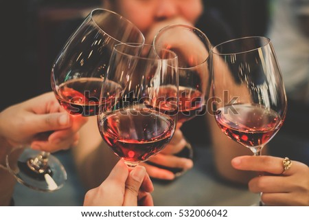People Drink wine enjoy to night, Business People Party Celebration Success Concept Royalty-Free Stock Photo #532006042