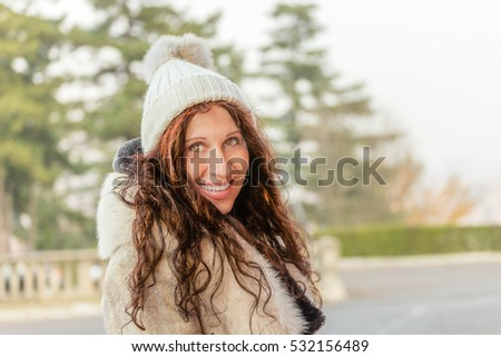 attractive menopausal woman with wrinkles in winter clothing #532156489