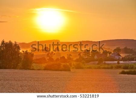 Summer sunset landscape in Poland. #53221819