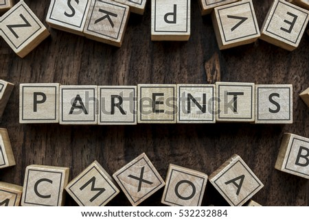 the word of PARENTS on building blocks concept #532232884