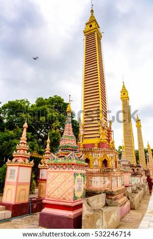 MONYWA, MYANMAR - AUG 27, 2016: Thambuddhe Pagoda Complex (Sambuddhe), one of the famous pagodas in Monywa of Sagaing Region. #532246714