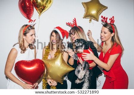 Four young woman celebrating and having fun. New year's party #532271890