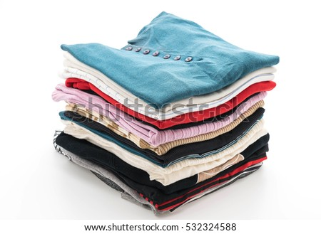 stacks of clothing on white background #532324588