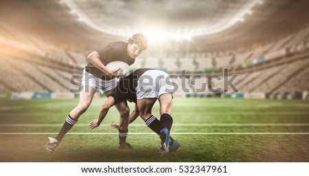 3D Rugby stadium against rugby players tackling during game #532347961