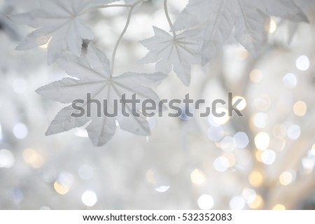 Christmas tree background with white artificial maple leaves #532352083