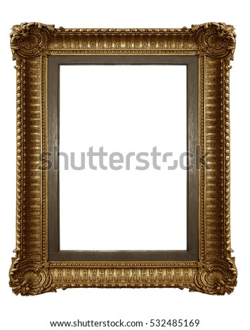 Vintage picture frame isolated on white background with clipping path