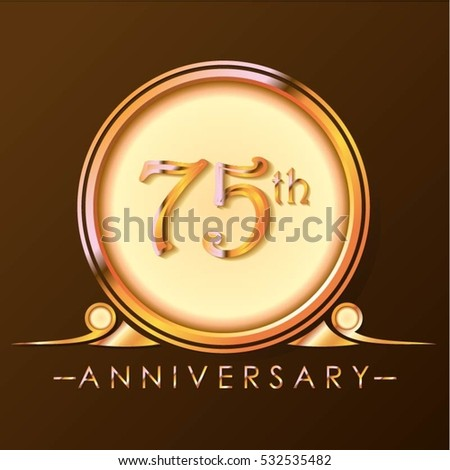 chocolate and gold circle 75th anniversary design #532535482