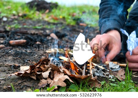 Campfire outdoors in early spring #532623976
