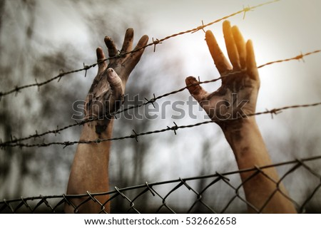 Refugee men and fence Royalty-Free Stock Photo #532662658