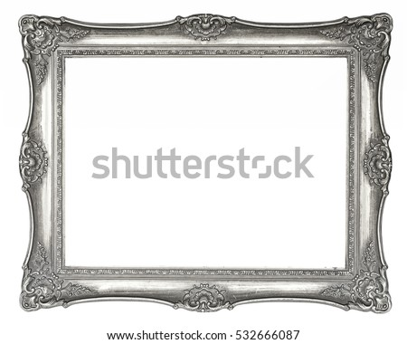 Silver vintage picture frame in high resolution isolated on white background, vintage look with paint peeling partly off