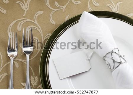 Festive christmas plate dinner setting #532747879