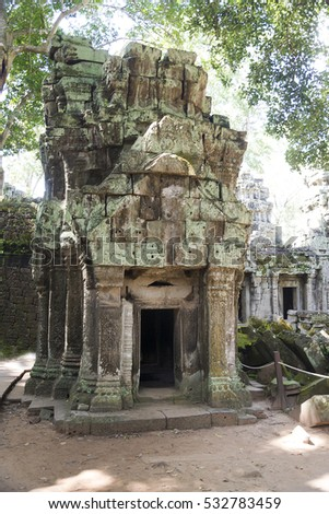 A temple in Angkor Wat on a summer day. #532783459
