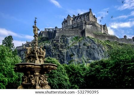 Edinburgh Castle during summer, Scotland. Royalty-Free Stock Photo #532790395
