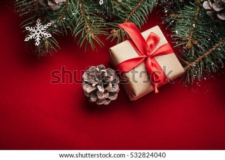 Christmas background with xmas tree and sparkle bokeh lights on wooden canvas background. Merry christmas card. Winter holiday theme. Happy New Year. Space for text. Happy Holidays #532824040
