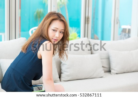 young attractive asian woman relaxing #532867111