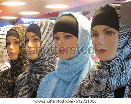 JAKARTA, INDONESIA - December 10, 2016: Mannequins in hijabs at Pasar Tanah Abang. #532921816
