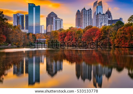 Atlanta, Georgia, USA Piedmont Park skyline in autumn.