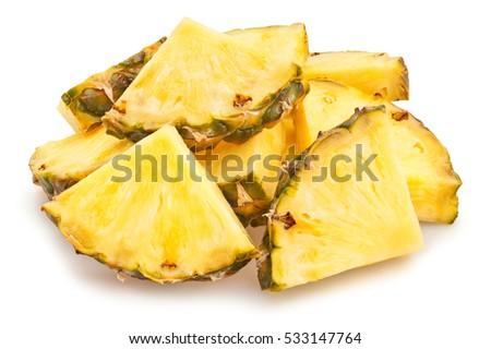 sliced pineapple isolated #533147764