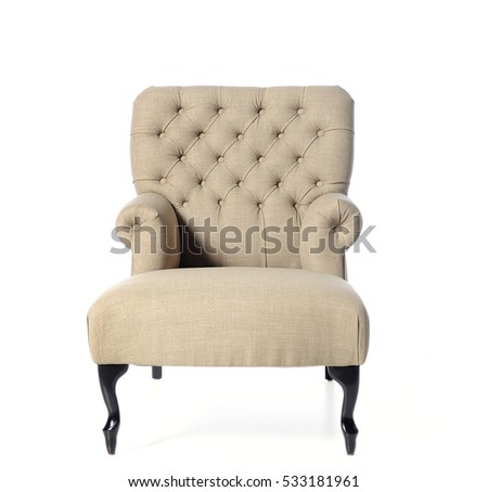 upholstered armchair, comfortable furniture, trendy colors, isolated on white background #533181961