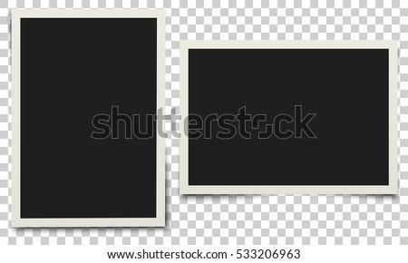 Photo frame. White plastic border on a transparent background. Vector illustration. Royalty-Free Stock Photo #533206963