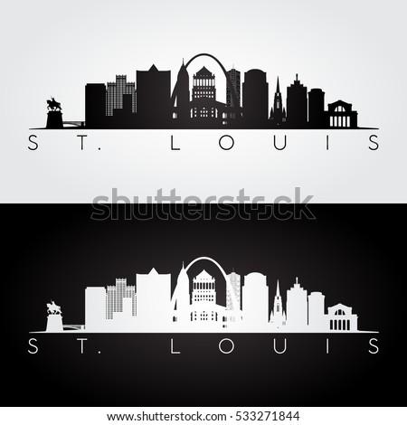 St. louis USA skyline and landmarks silhouette, black and white design, vector illustration.