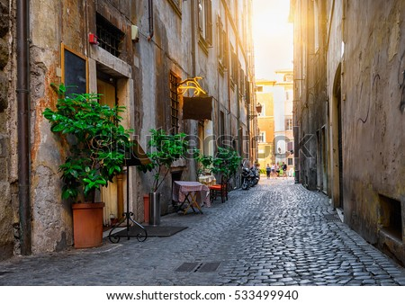 View of old cozy street in Rome, Italy.  Architecture and landmark of Rome. Postcard of Rome. #533499940