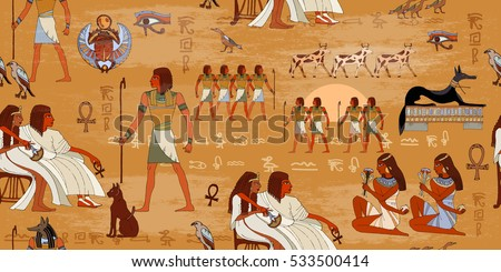 Ancient Egypt seamless pattern. Hieroglyphic carvings on the exterior walls of an ancient egyptian pattern. Ancient Egypt murals. Grunge Egypt seamless background. Egyptian gods and pharaohs pattern #533500414