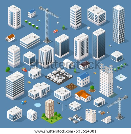 Industrial set of 3D isometric projection of dimensional houses, buildings, cranes, cars and many other design elements necessary creative designers  Royalty-Free Stock Photo #533614381