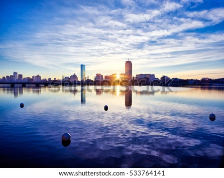 A colorful winter sunrise lights Boston's Back Bay Skyline