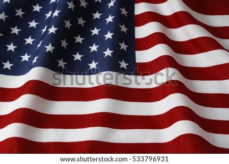 Closeup of rippled American flag #533796931