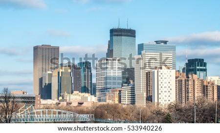 Skyline of Minneapolis, Minnesota in the Autum