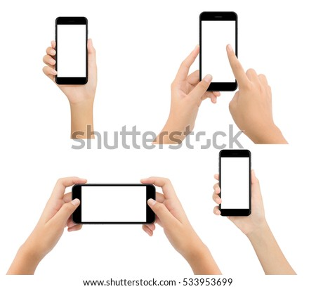 woman hand hold phone blank screen isolated on white background, mock-up modern smartphone #533953699