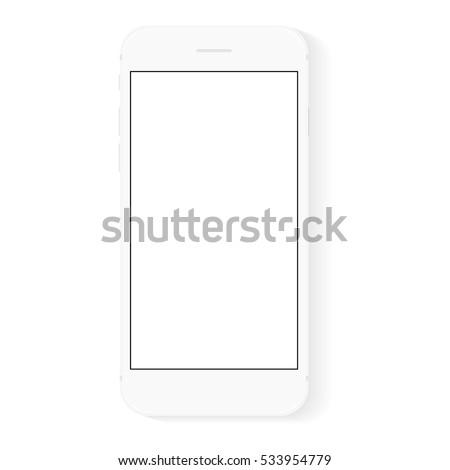 white flat phone white screen, vector drawing modern smartphone design