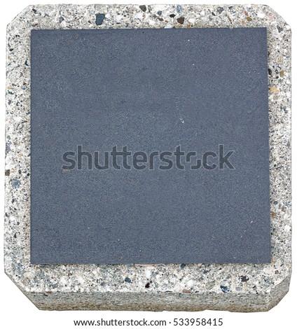 Blank stone plaque set in granite. Copy space. #533958415