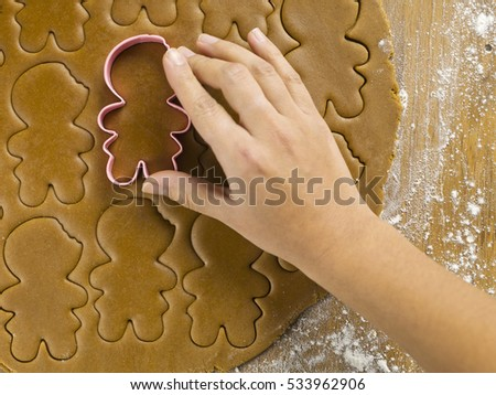 Preparing gingerbread christmas cookies  #533962906