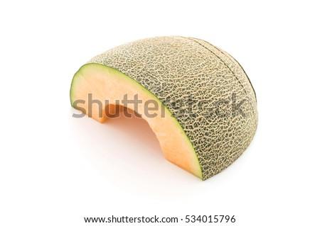 cantaloupe melon on white background #534015796