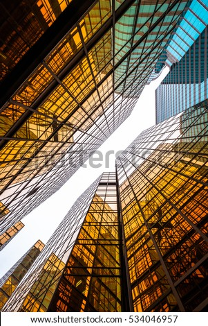 low angle view of business buildings in Hong Kong,China. #534046957