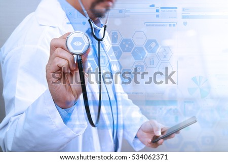 Medical technology concept. Doctor hand working with modern smart phone with graphic chart interface,multi channel connection,white background #534062371