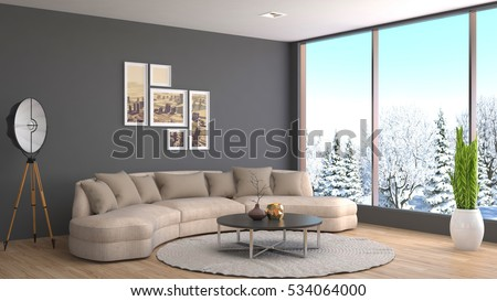 interior with sofa. 3d illustration. #534064000