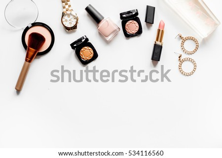 decorative cosmetics nude on white background top view #534116560