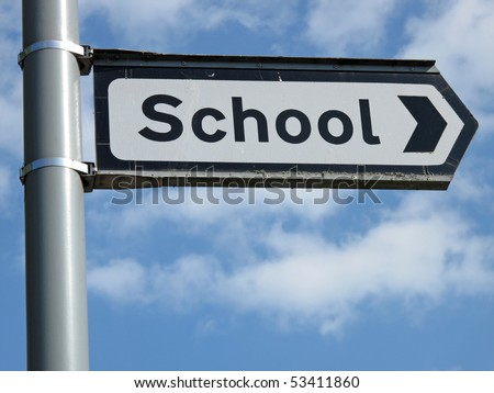 School sign close up.