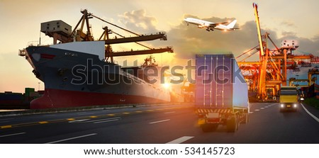 Truck transport container on the road to the port, Industrial Container Cargo freight ship for Logistic Import Export concept #534145723