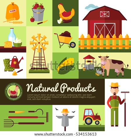 Farm household for natural organic food production and crops harvesting tools flat banner design  illustration  #534153613
