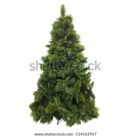 Christmas tree made of plastic on a pedestal not dressed artificial  #534162967